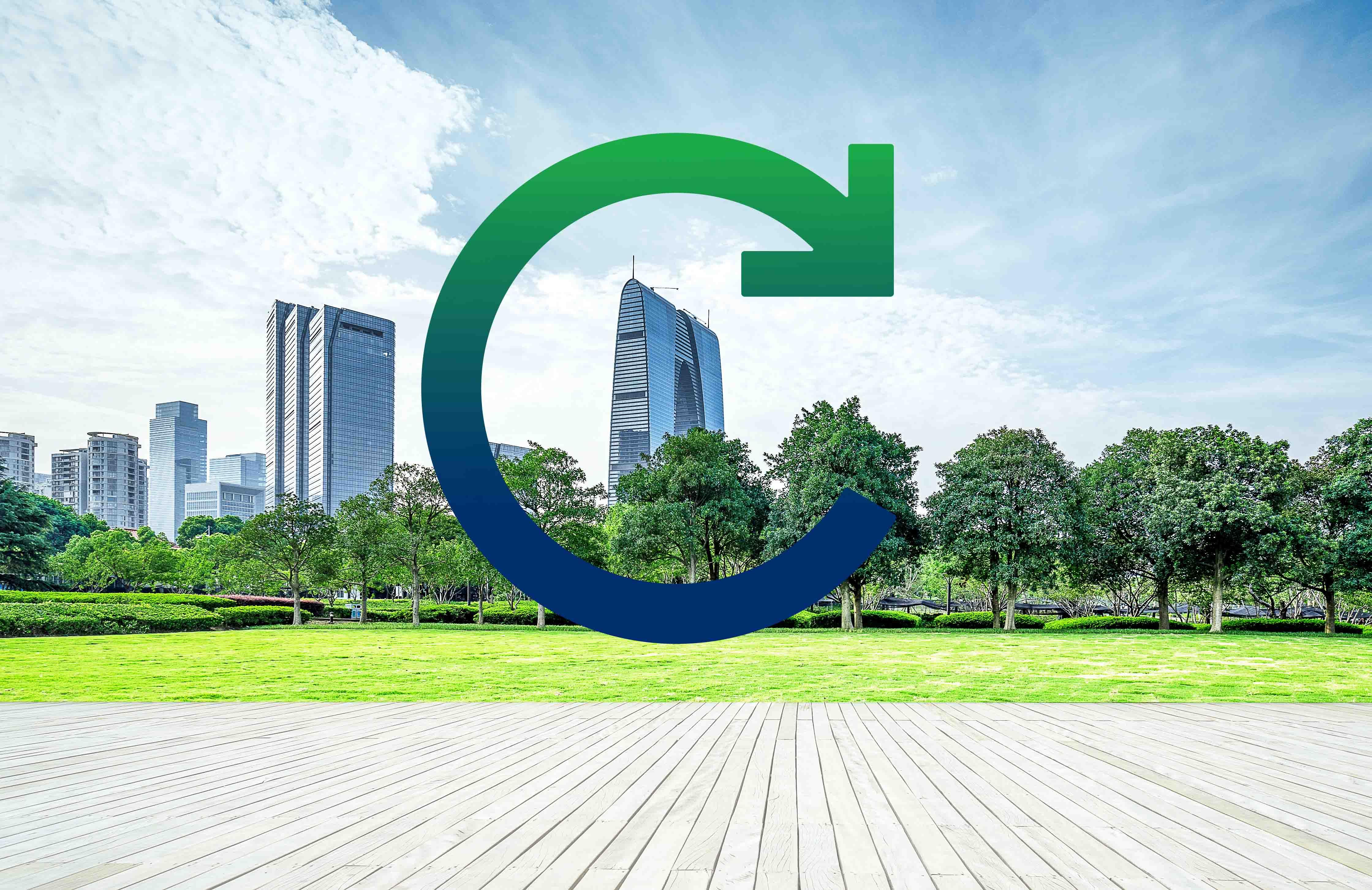 Neues Caverion Logo vor Stadtansicht