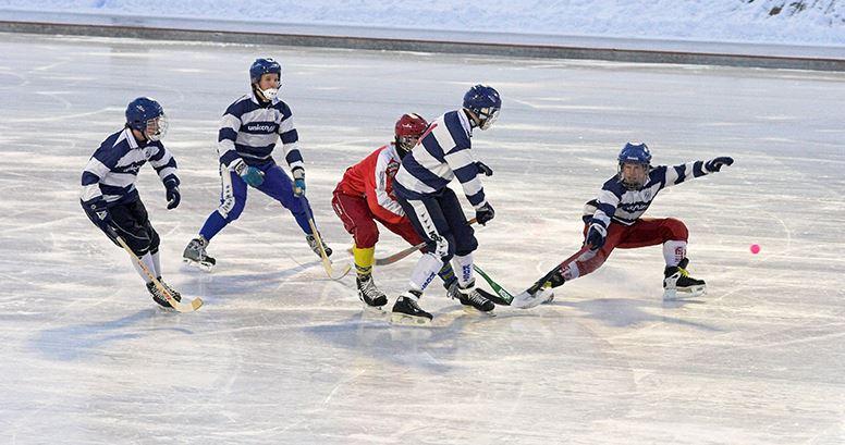 Fem bandyspelare jagar bollen under en match