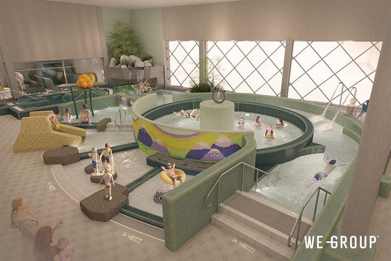 3D skiss av badgäster i modernt badhus