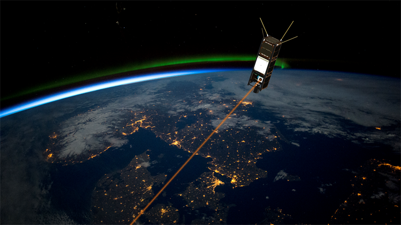 Artistic illustration of the PIXL mission in orbit operating its laser downlink GomSpace
