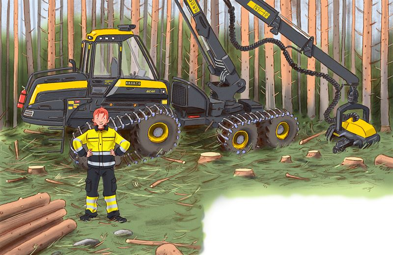 Halvan  Hr kommer skogsmaskinerna