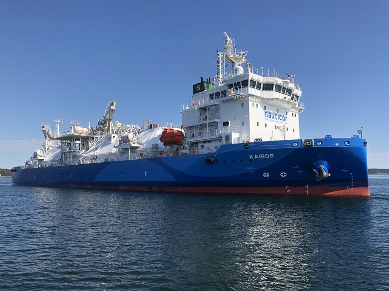 The LNG Bunker vessel 'Kairos' has been fitted with the Wärtsilä SceneScan laser-based targetless relative DP reference system. Picture copyright: Jann Voss, TSI-LNG, BSM Germany