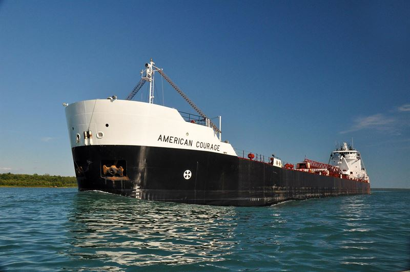 MV American Courage, a 194 metres Great Lakes self-unloading bulk freighter, is the largest ship ever capable of performing automated docking and dock-to-dock sailing operations. © ASC-Rand Holdings LLC