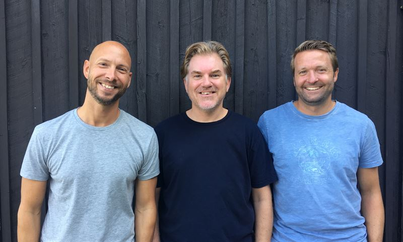 Fr.v. Grundarna Johan Bergenheim, Henrik Patzer och Kim Persson.