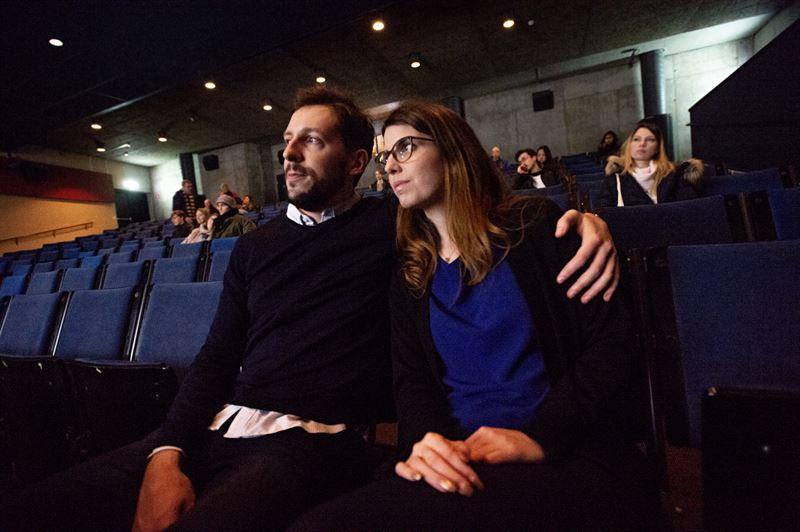 Emma och Frdric i filmsalen p Vasamuseet
