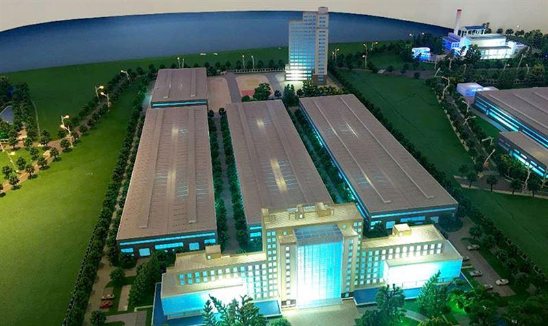 En model av tillverkningsenhet i Chengdu