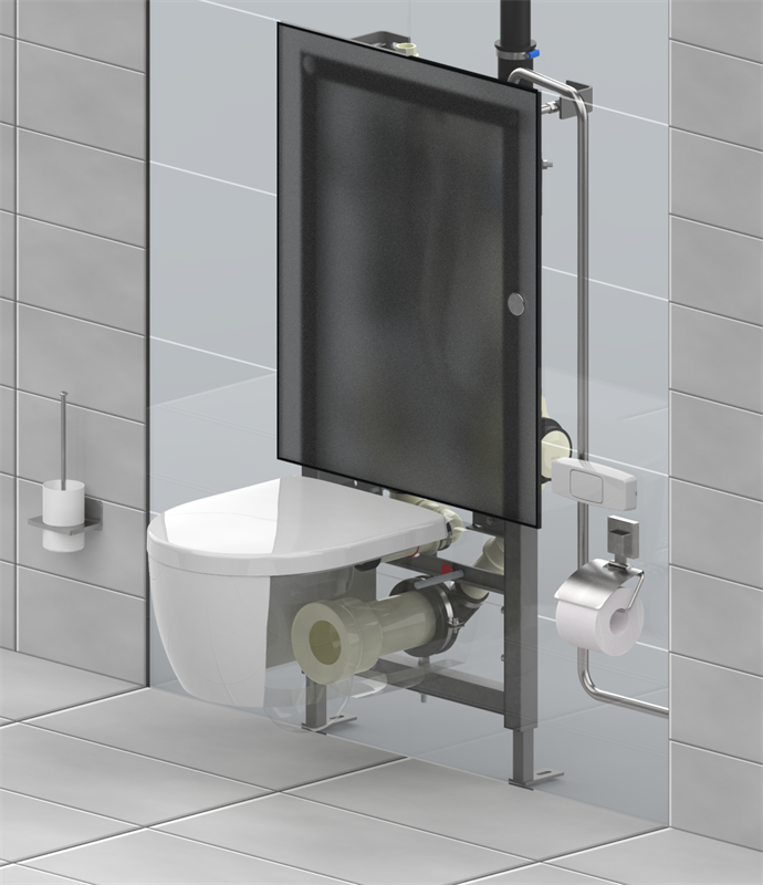 The Evac VacuConvert wallmounting frame enables gravity toilets to be connected to an Evac vacuum collection system