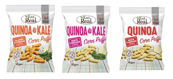 """Tre påsar av Majspuffar """"Eat Real Quinoa Puffs."""