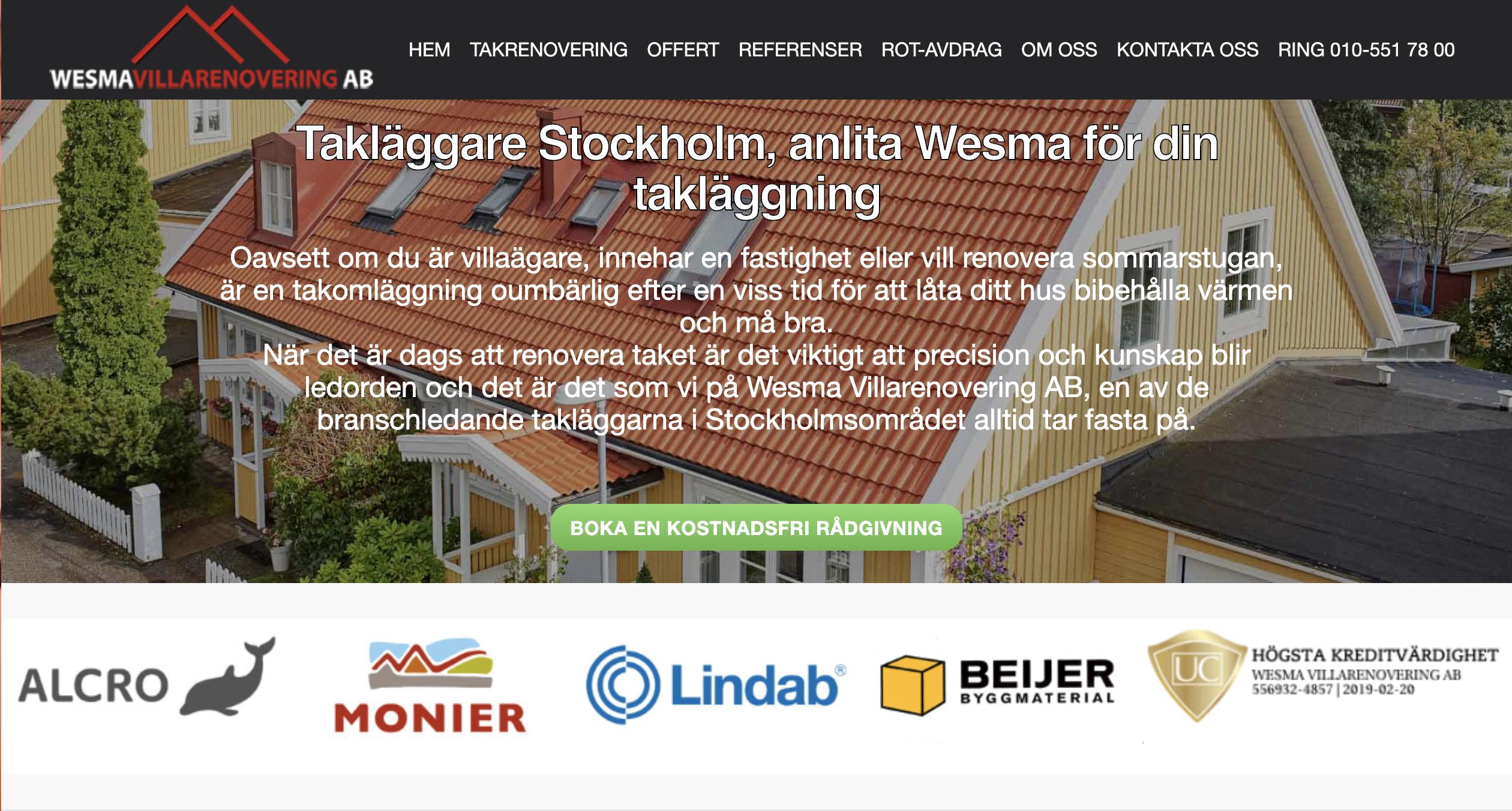 Puffer lanserar hemsida för Wesma Villarenovering AB, takläggare i Stockholm