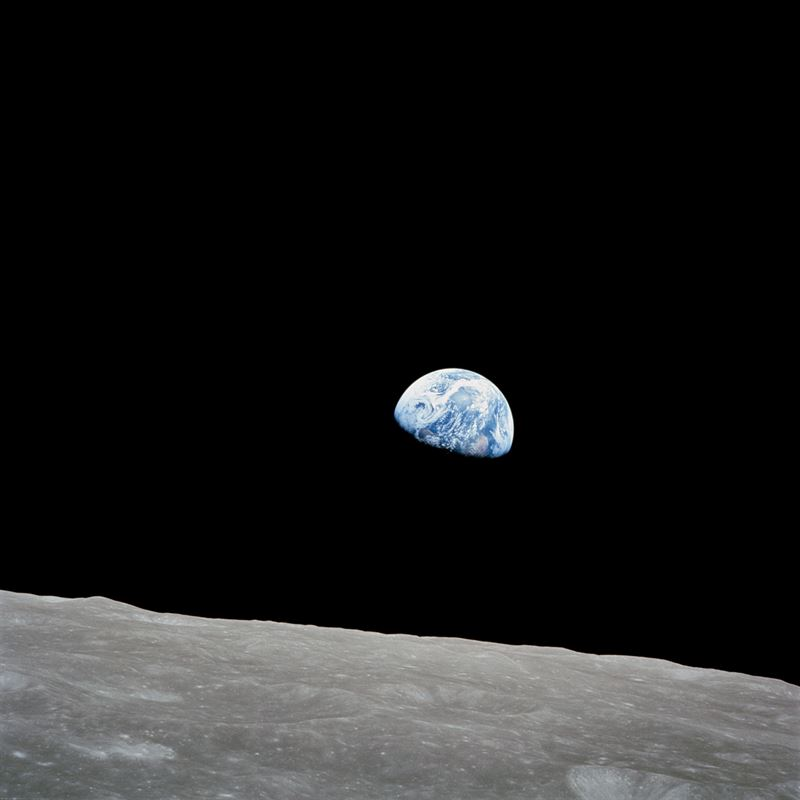 Apollo 8 Mission image Earth over the horizon of the moon
