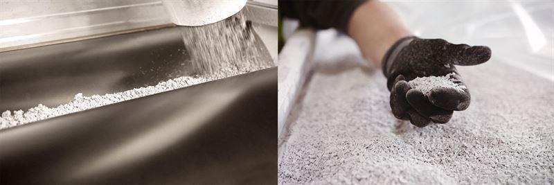 Ny teknik som nu kan anvndas i industriell skala gr att material frn plastgolv som idag huvudsakligen nyttjas i offentliga miljer kan teranvndas som rvara till nya golv Det innebr att exakt samma material som anvnds i golv som lggs idag kan utgra rvara till golv som tillverkas och lggs nsta rhundrade