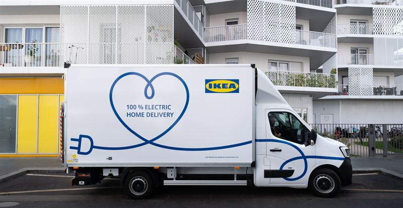IKEA Electric vehicle parked in front of apartments