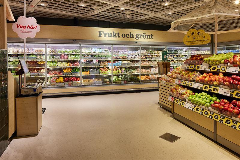 Butiksbild frukt och grönsaker