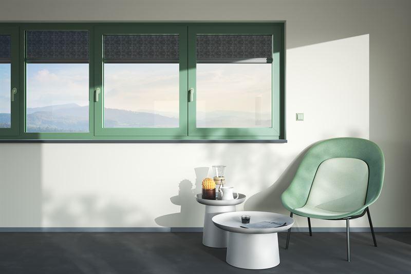 heroal Fenster in Le Corbusier Farbton