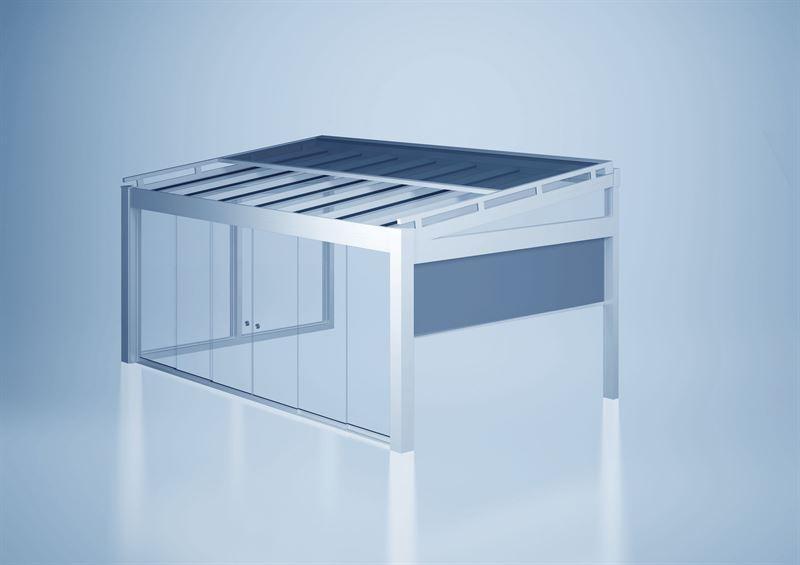Das Terrassendachsystem heroal OR lsst sich mit Sonnenschutz und Schiebetrelementen kombinieren und macht Terrassenbereiche so ganzjhrig und wetterunabhngig nutzbar  heroal