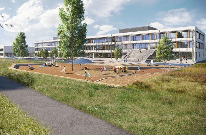 Illustration nya Fornuddens skola i Tyres