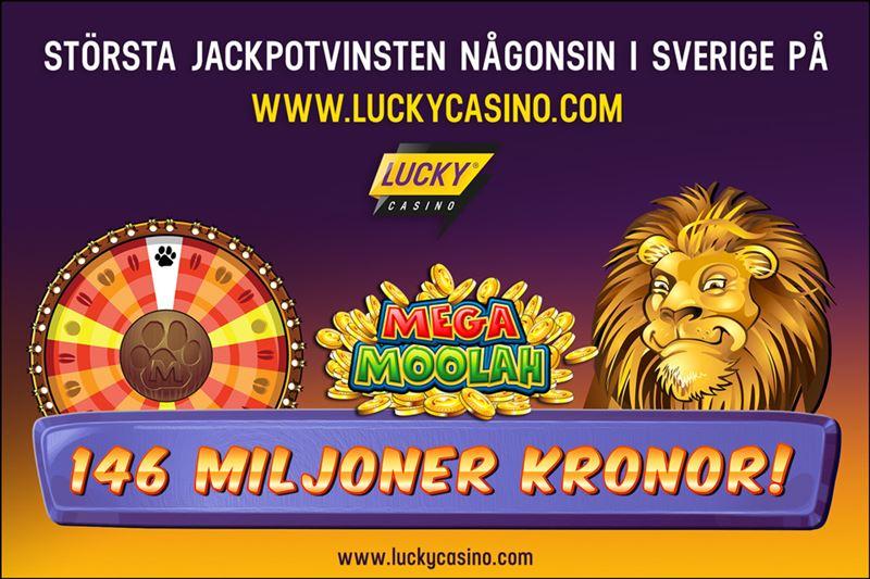 Svensk jackpottvinare hos Lucky Casino på Mega Moolah 146 miljoner