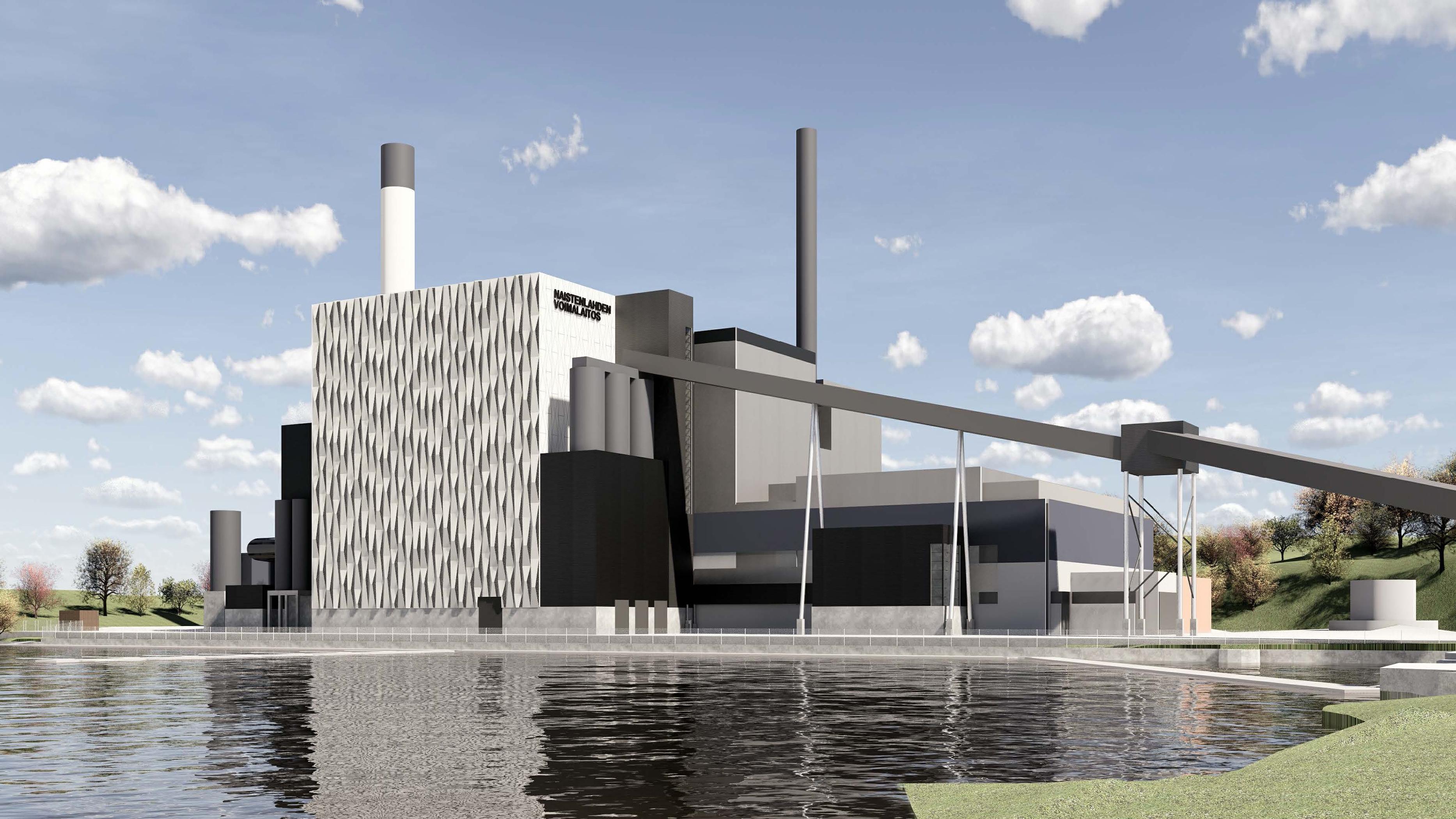 Illustration of the Tampereen Sähkölaitos Oy's Naistenlahti power plant in Tampere, Finland
