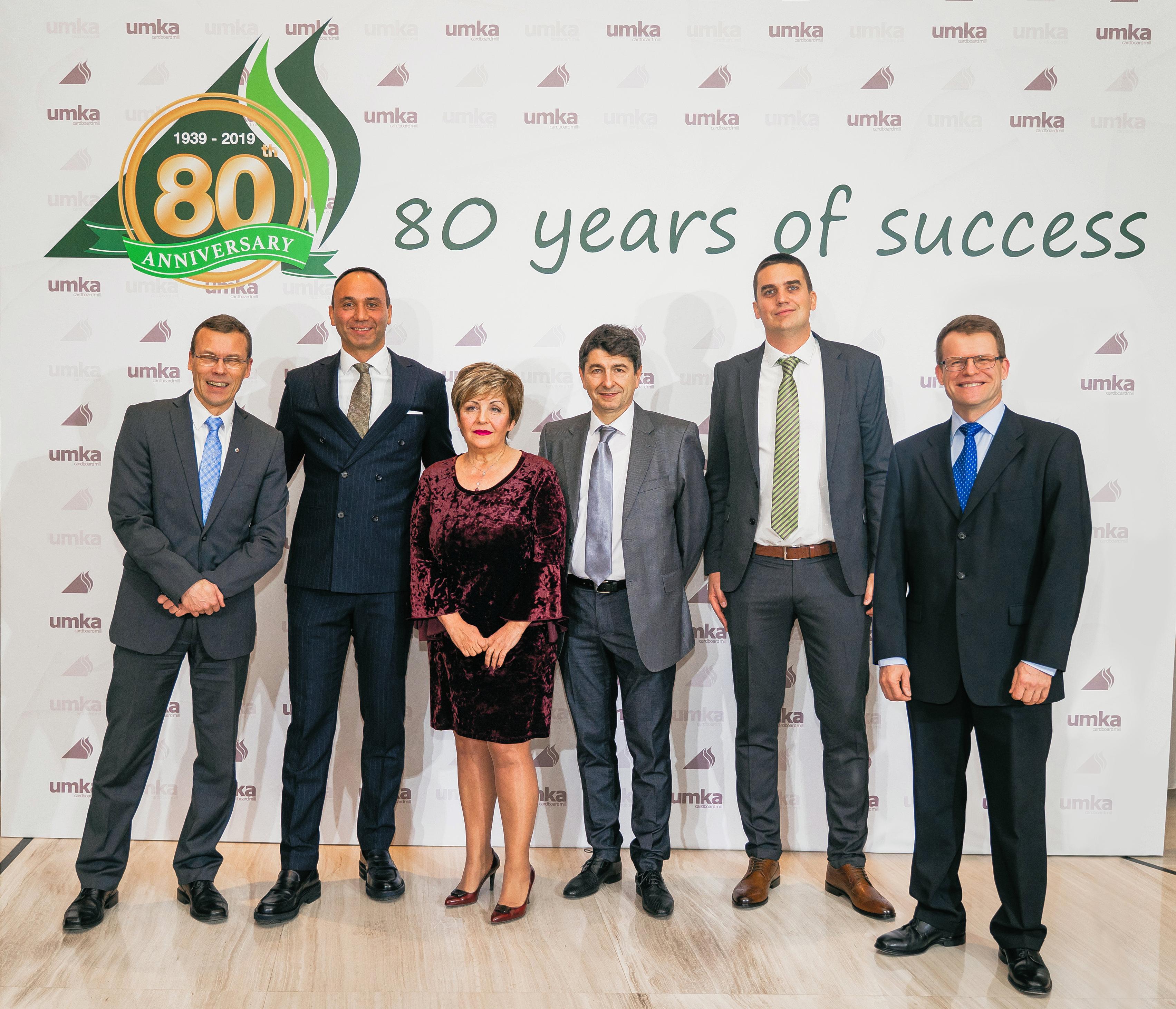 Umka's and Valmet's teams at the Umka 80-year anniversary celebration. From left: Kari Räisänen (Valmet), Milos Ljusic (Umka), Jadranka Priljeva (Umka), Staniša Lukić (Umka), Nikola Pejović (Umka) and Pekka Turtinen (Valmet)
