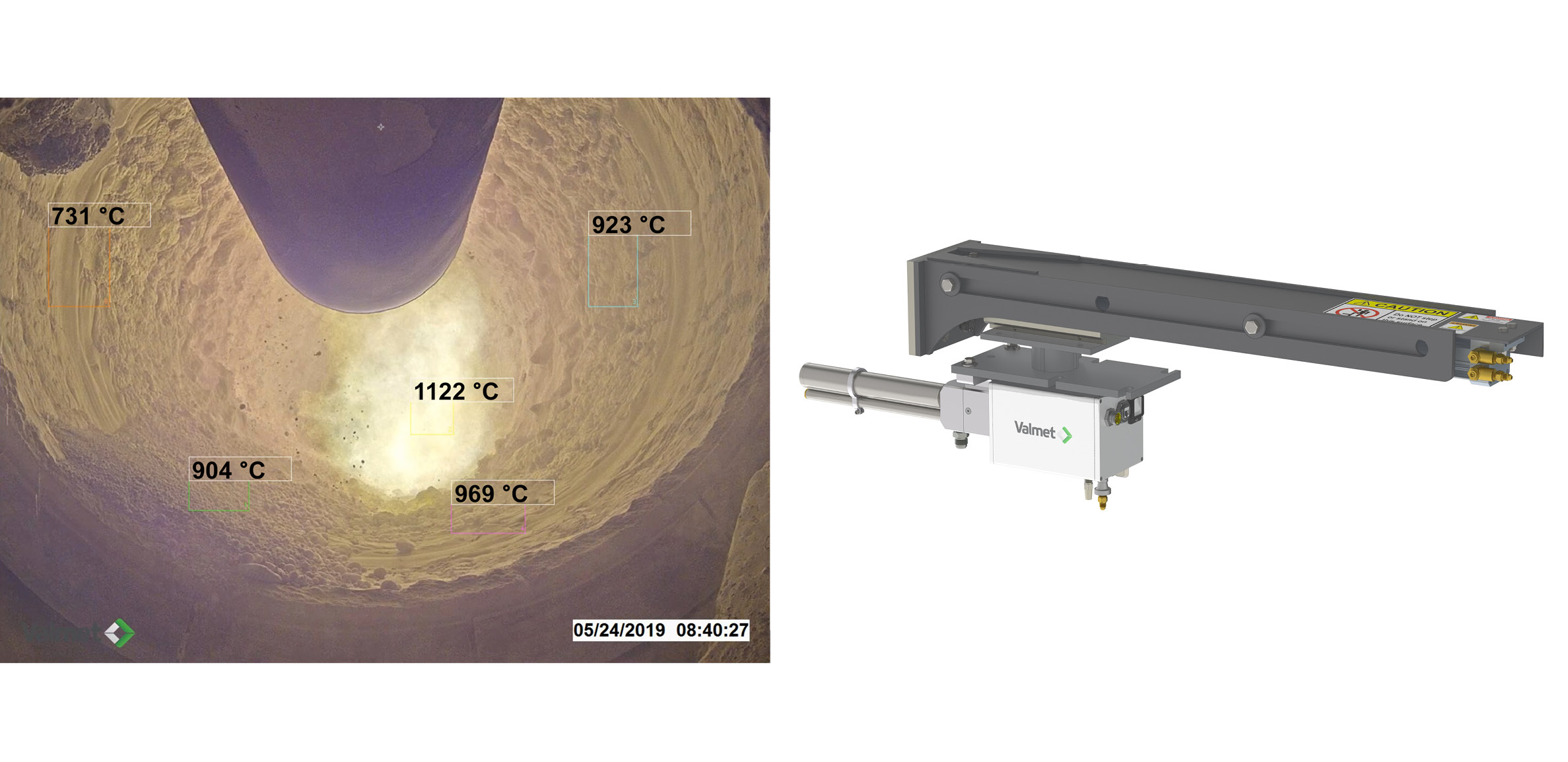 Example output from Valmet Visible Thermal Imaging System