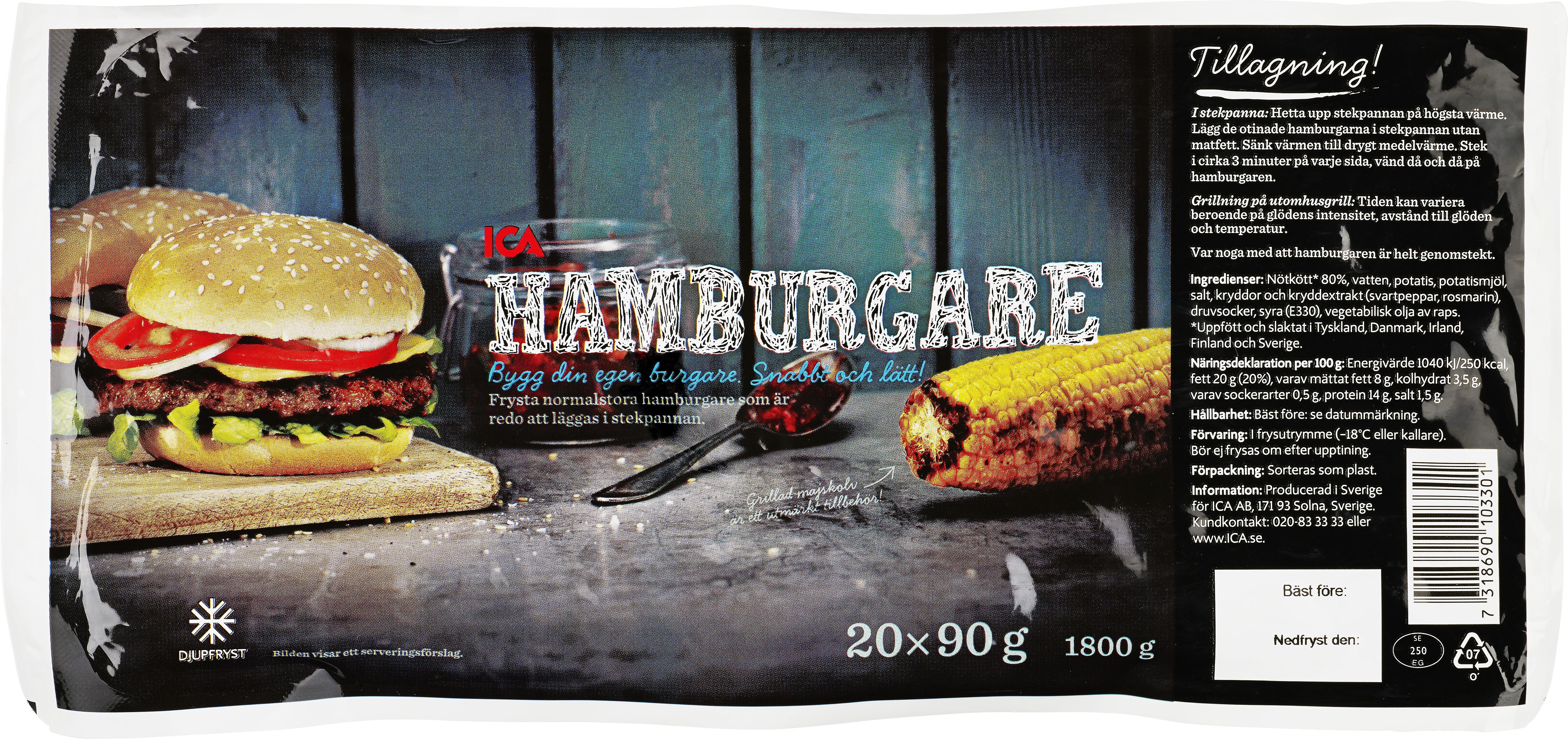 ICA Hamburgare 20x90g