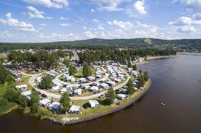 Flygbild på Siljansbadets Camping