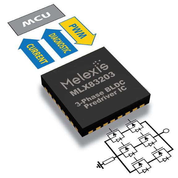 Nfet pre driver with eeprom configurability from melexis for Brushless motor controller ic