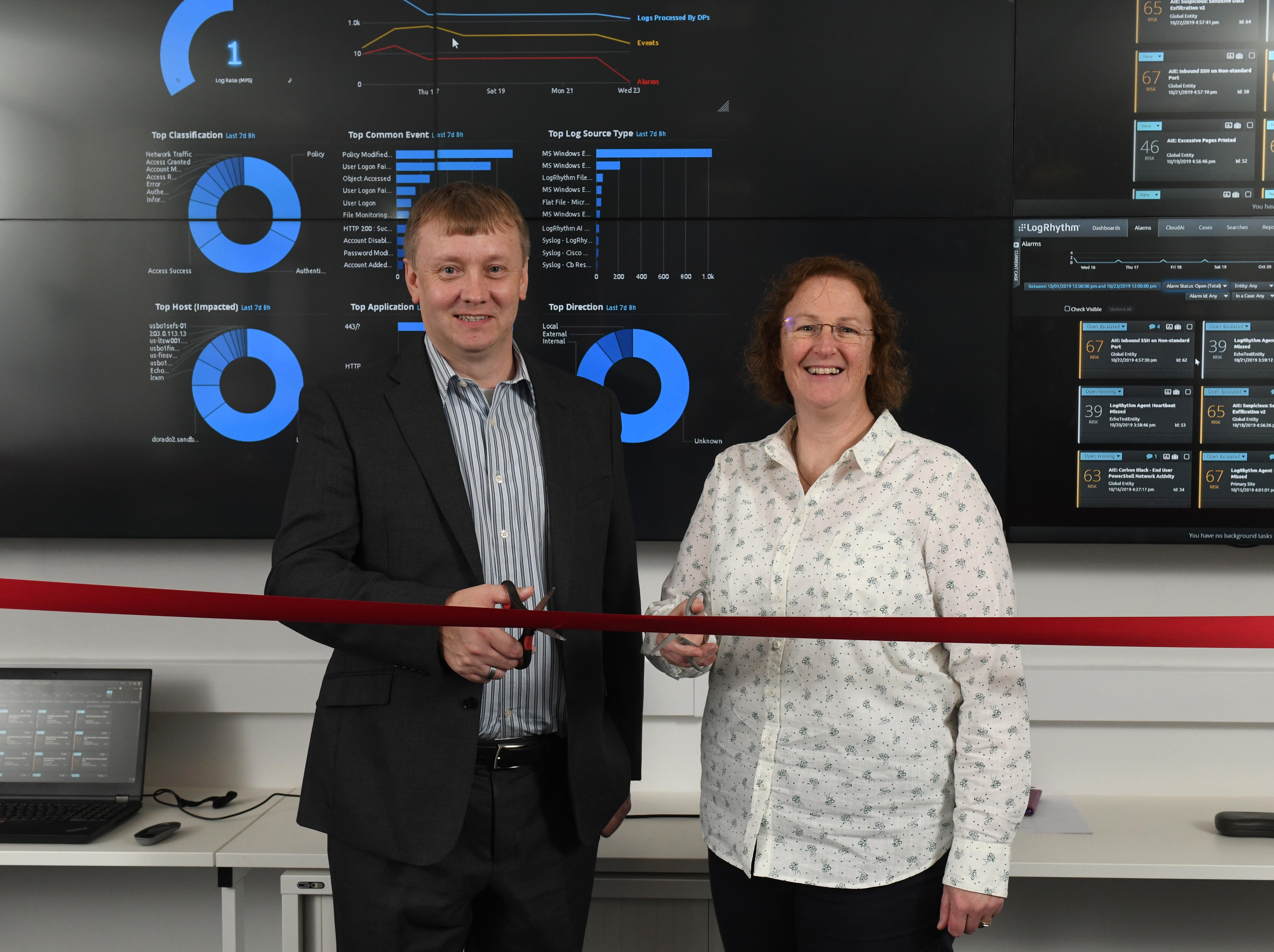 Wayne Barraclough (Chief Security Officer, Proact) and Jackie Riley (Head of Department for Cyber Security and Networks, GCU)