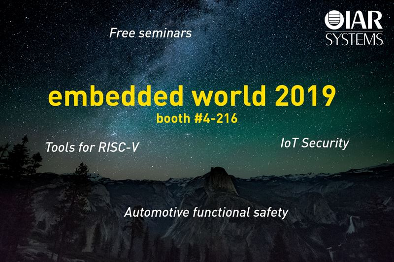 embedded world 2019: IAR Systems to showcase offering for