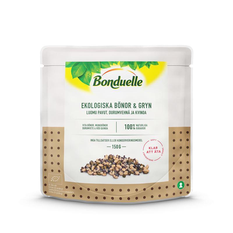 Bonduelle on lanseerannut uuden käyttövalmiin luomusarjan 150 gramman pusseissa