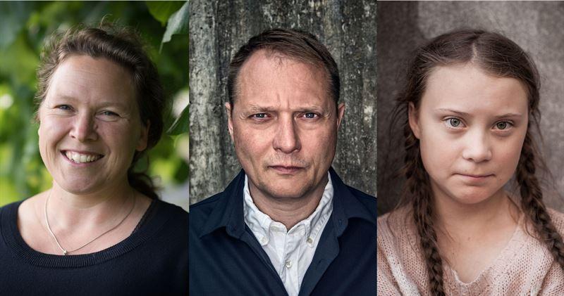 WWFs Miljöhjältar 2019 Pella Thiel, Magnus Carlson och Greta Thunberg.