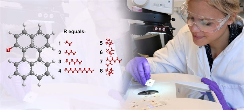 Researcher Sandra Hultmark works with a sample of the new glass material using a FSC Fast Scanning Calorimetry machine The illustration on the left shows the eight different perylene molecules that were investigated in the study