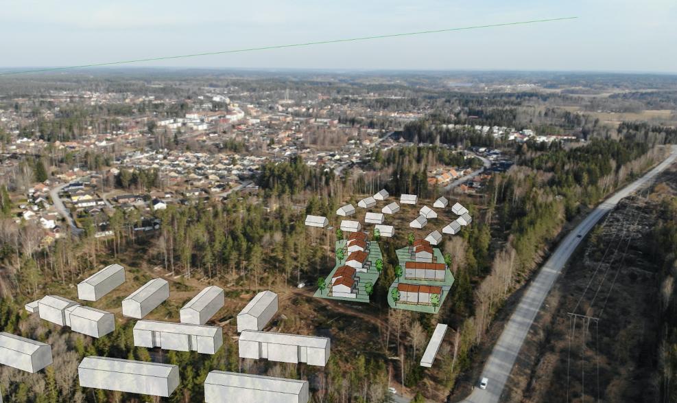Vybild över Bergtorp med inklippta hus