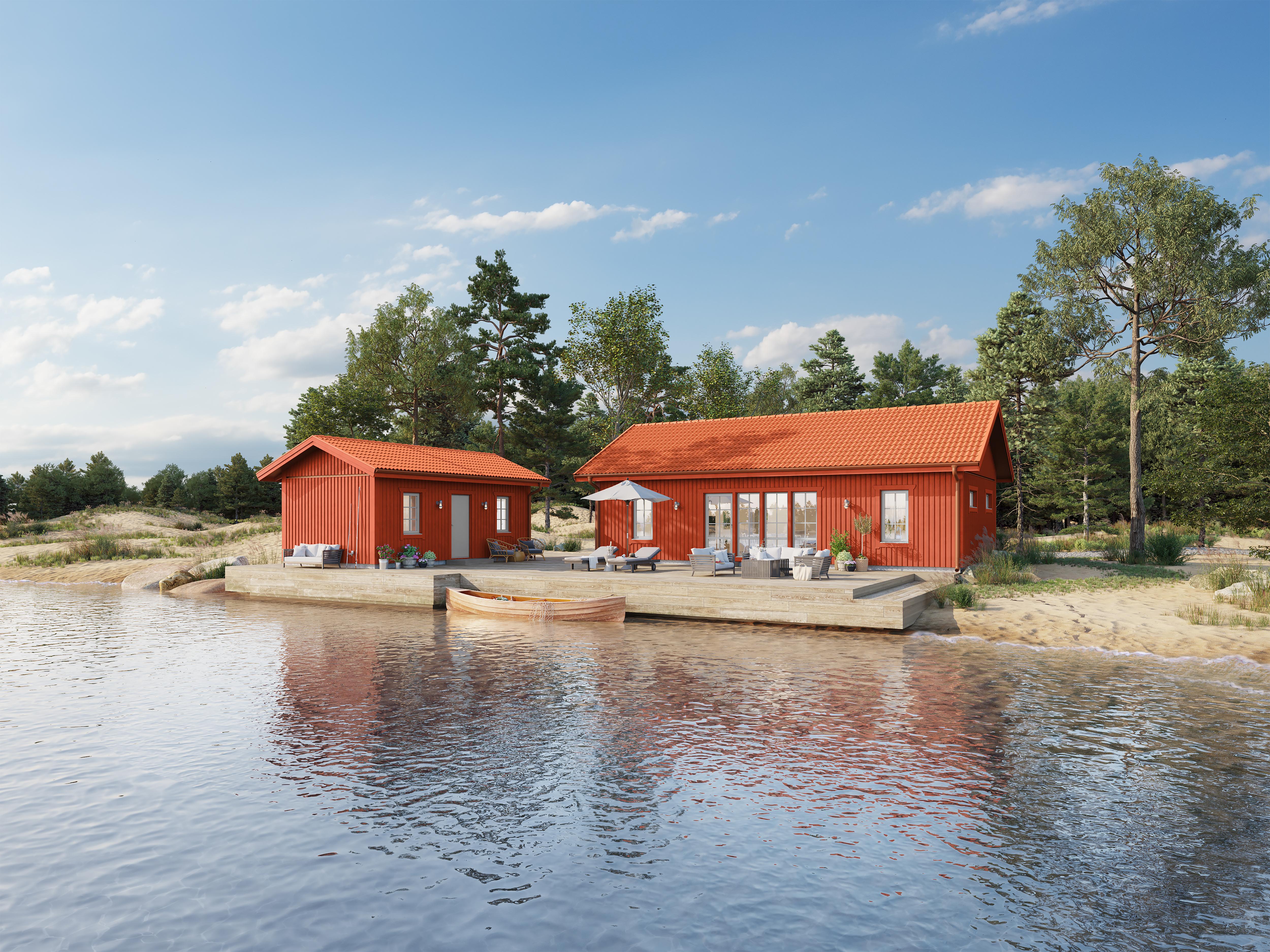Götenehus fritidshus Stråken 69,9 kvm, kompletterat med ett annex.