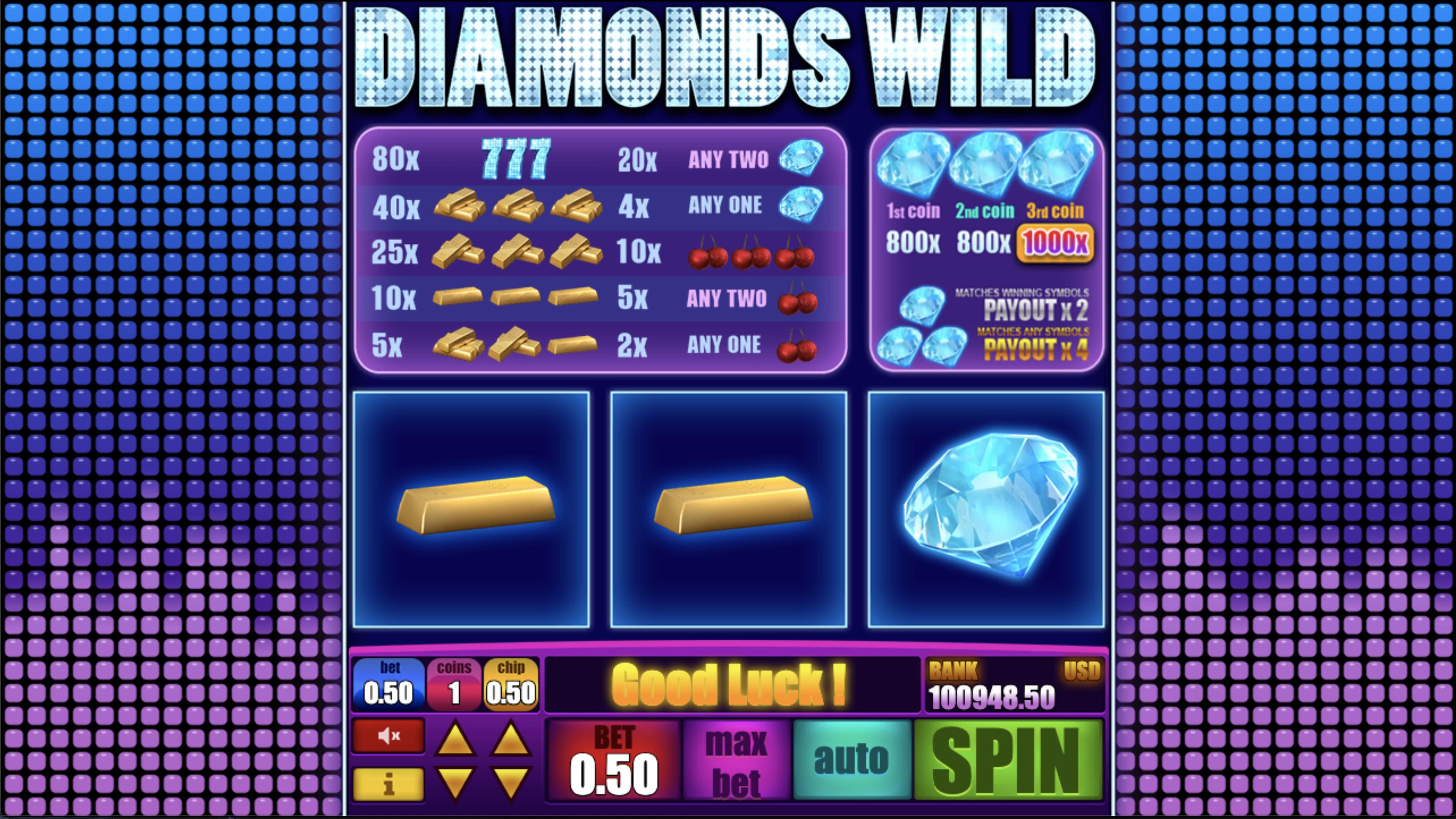 Diamonds Wild videoslot från Spiffbet