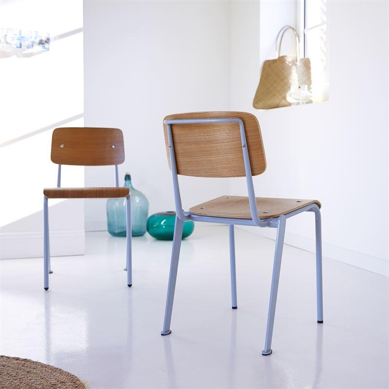 Stuhl aus Metall und Eiche Mio 89