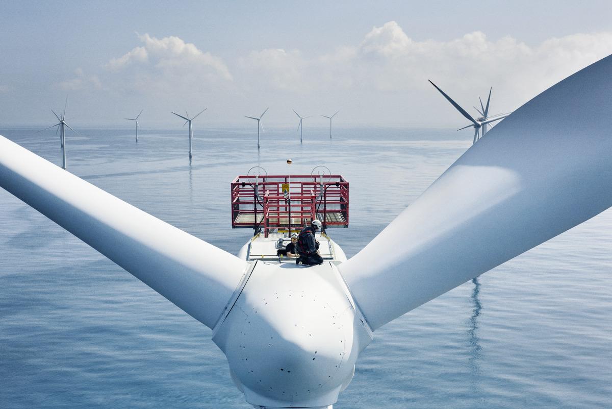 Den havsbaserade vindkraftparken Horns Rev 1 i Danmark