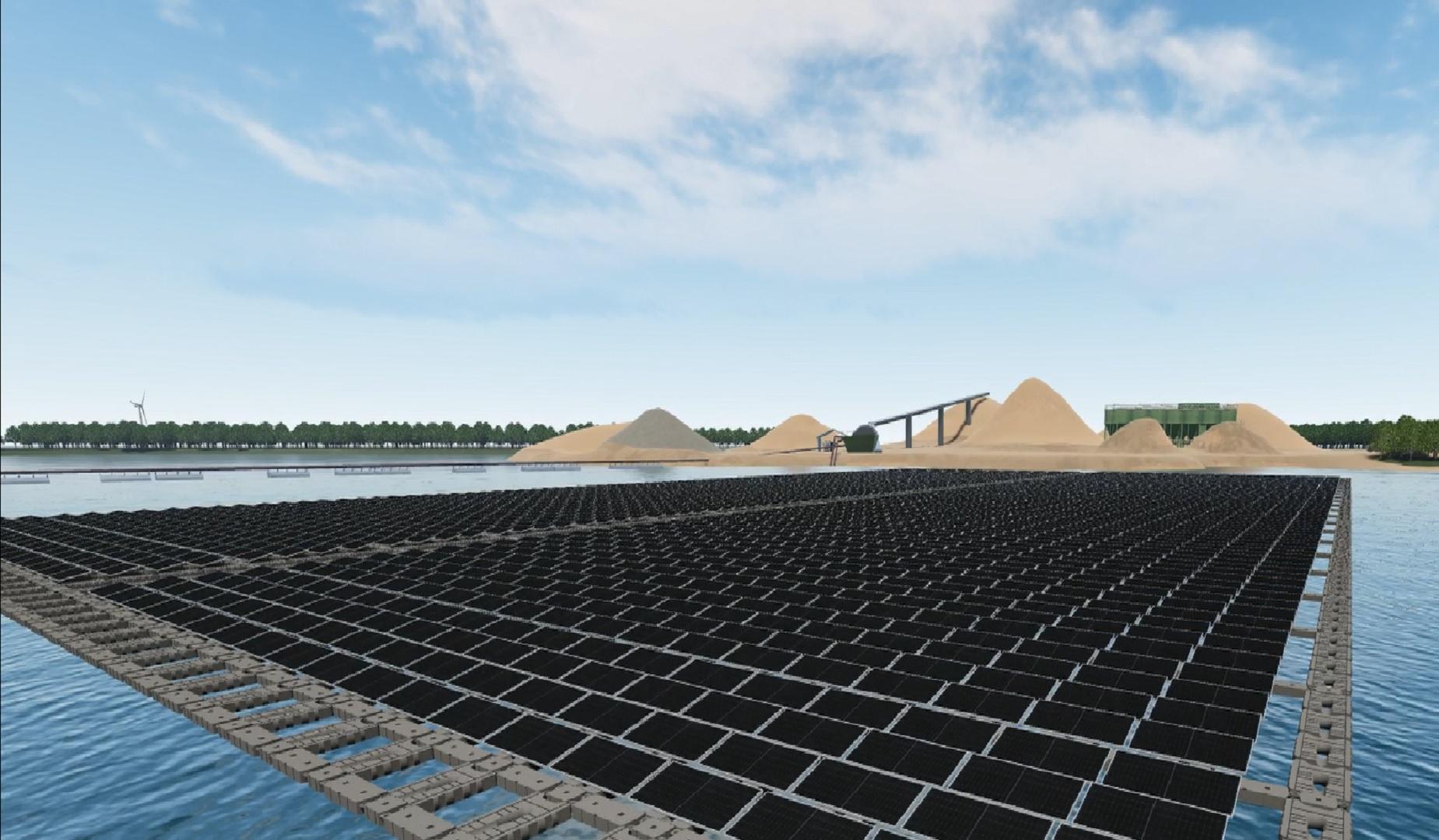 Flytande solpark