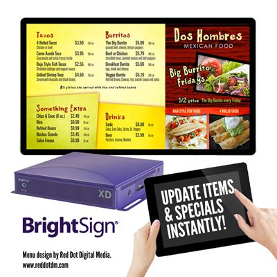 BrightSign Unveils its XD Smart Menu Board at European Sign