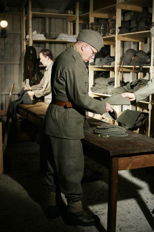 Mobiliseringsfrrd under andra vrldskriget bild frn scen i utstllning p Armmuseum