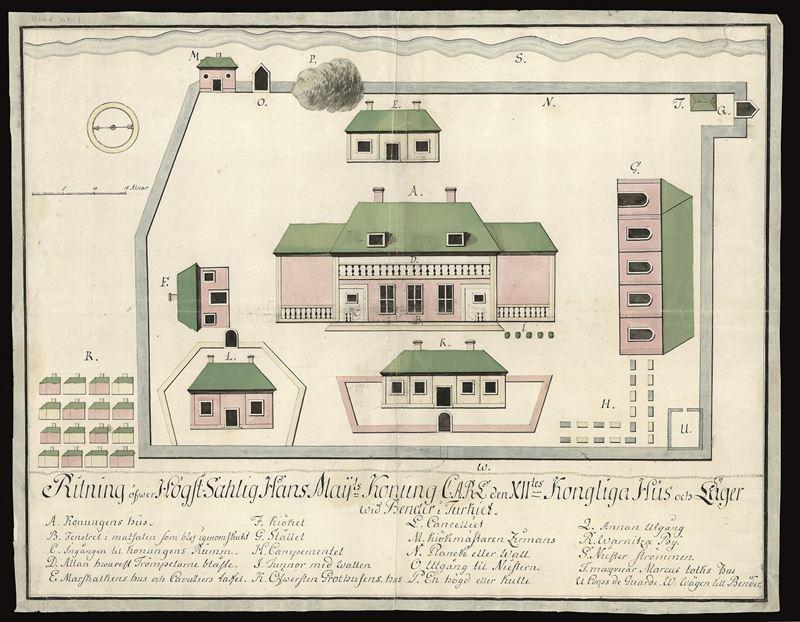 Ritning av Karl XII boningshus i Bender