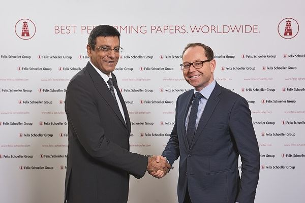 Rajan Vaswani CEO of Felix Schoeller India and Guido Hofmeyer the Felix Schoeller Groups CFO seal the deal that takes the longstanding partnership to a new level