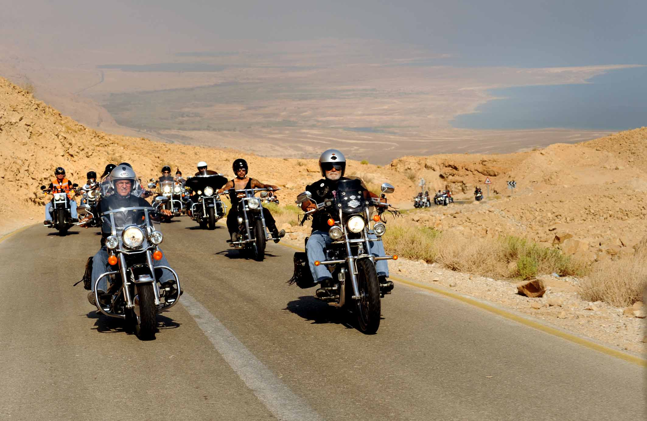 Harley Riders: Israel Harley Davidson Riders Club In The Dead Sea. Photo
