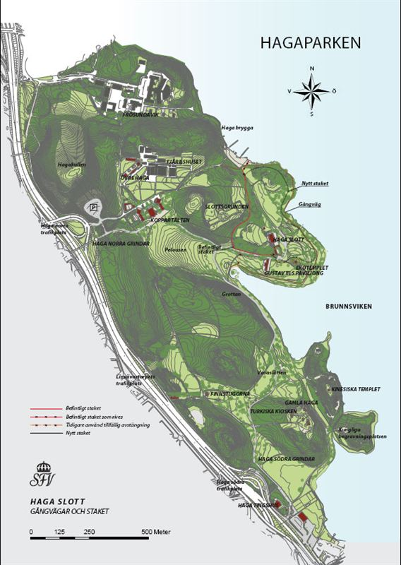 hagaparken karta Lågupplöst karta över Haga slott med avspärrning   Statens  hagaparken karta