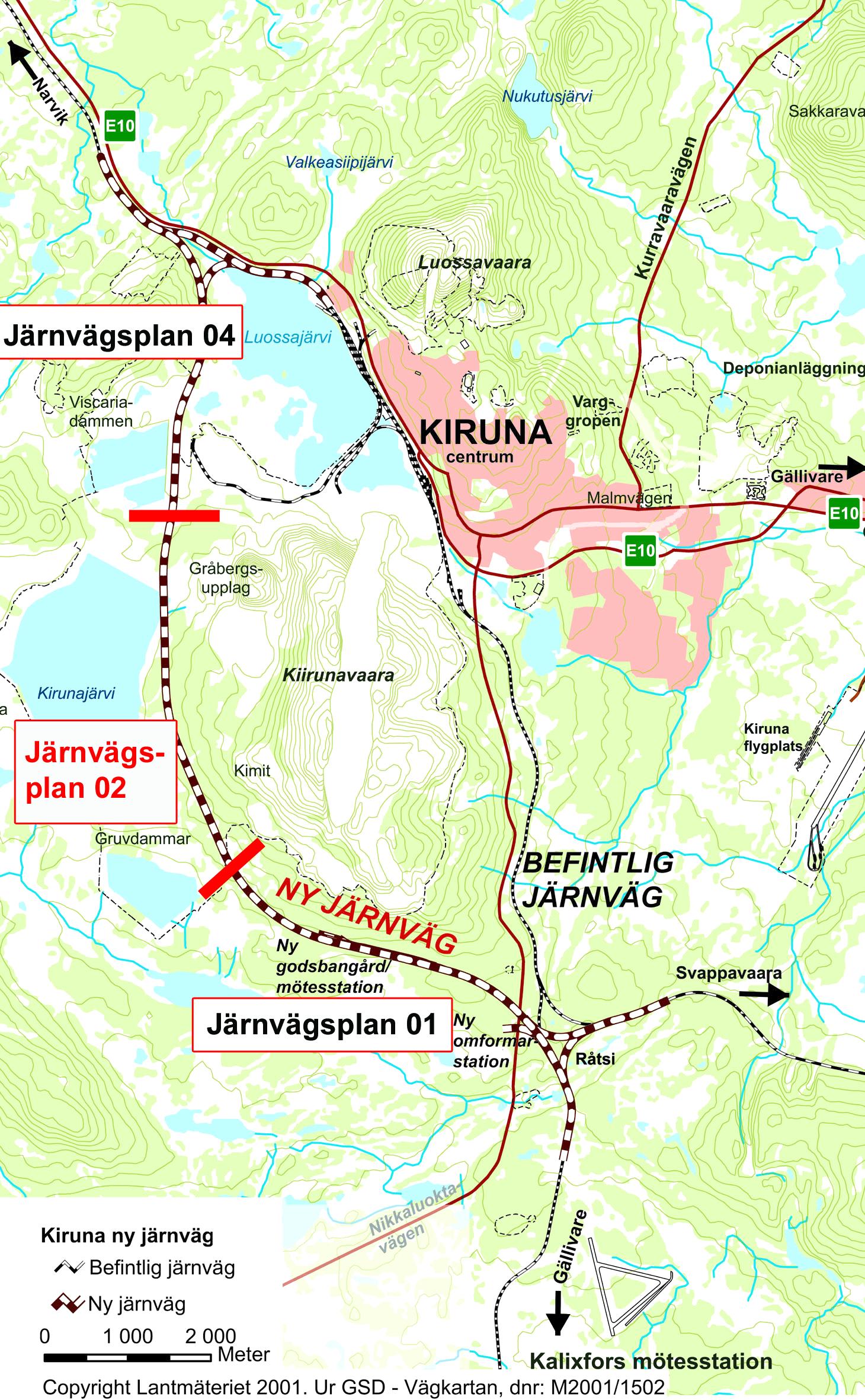 kiruna karta Karta över ny järnväg i Kiruna   Banverket kiruna karta