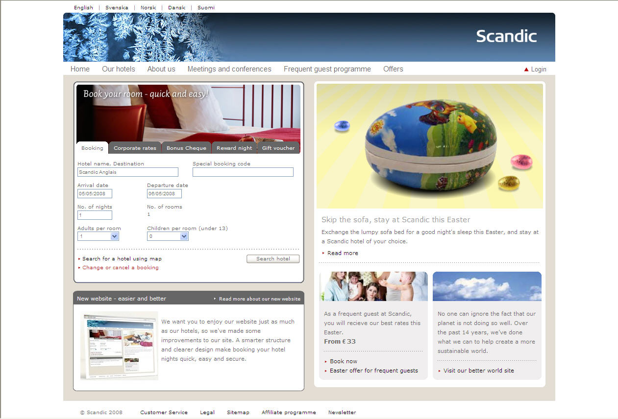 Scanweb homepage