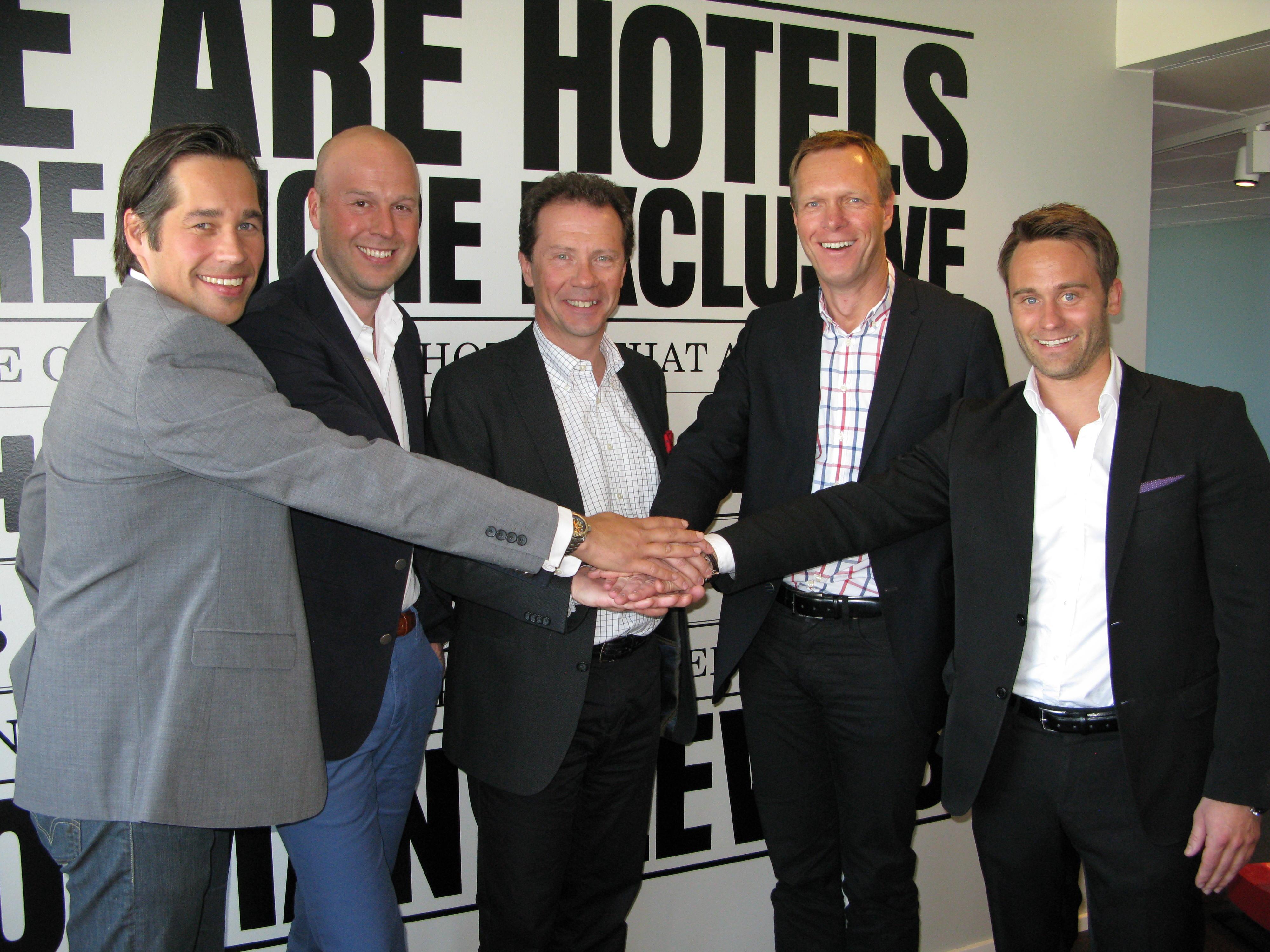 Från vänster; Mathias Kemi, Sponsoringchef Scandic Johan Michelson, Marknadschef Scandic Anders Ehrling, Koncernchef Scandic Carl Pernow, CEO Live Nation Nordic Tobias Ekman, Commercial Director Live Nation Nordic